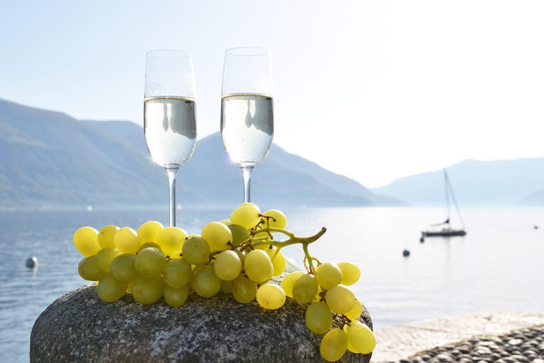 Weintrauben, Champagner, Lago Maggiore