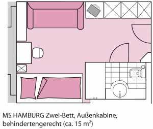 MS Hamburg, Kabinengrundriss, 2-Bett außen (behindertengerecht)