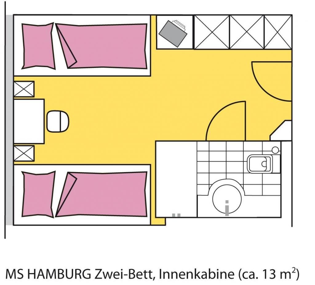 MS Hamburg, Kabinengrundriss, 2-Bett innen