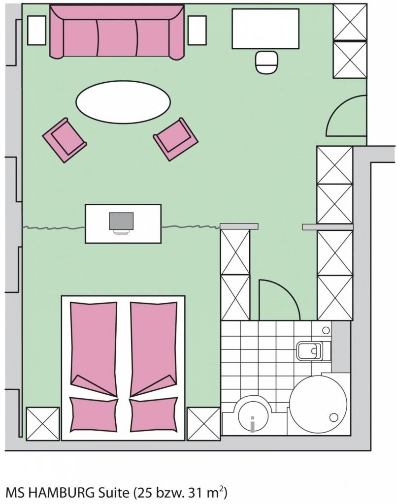 MS Hamburg, Kabinengrundriss, Suite