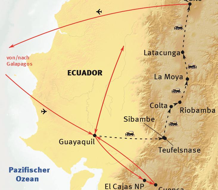 Route Ecuador und Galapagos