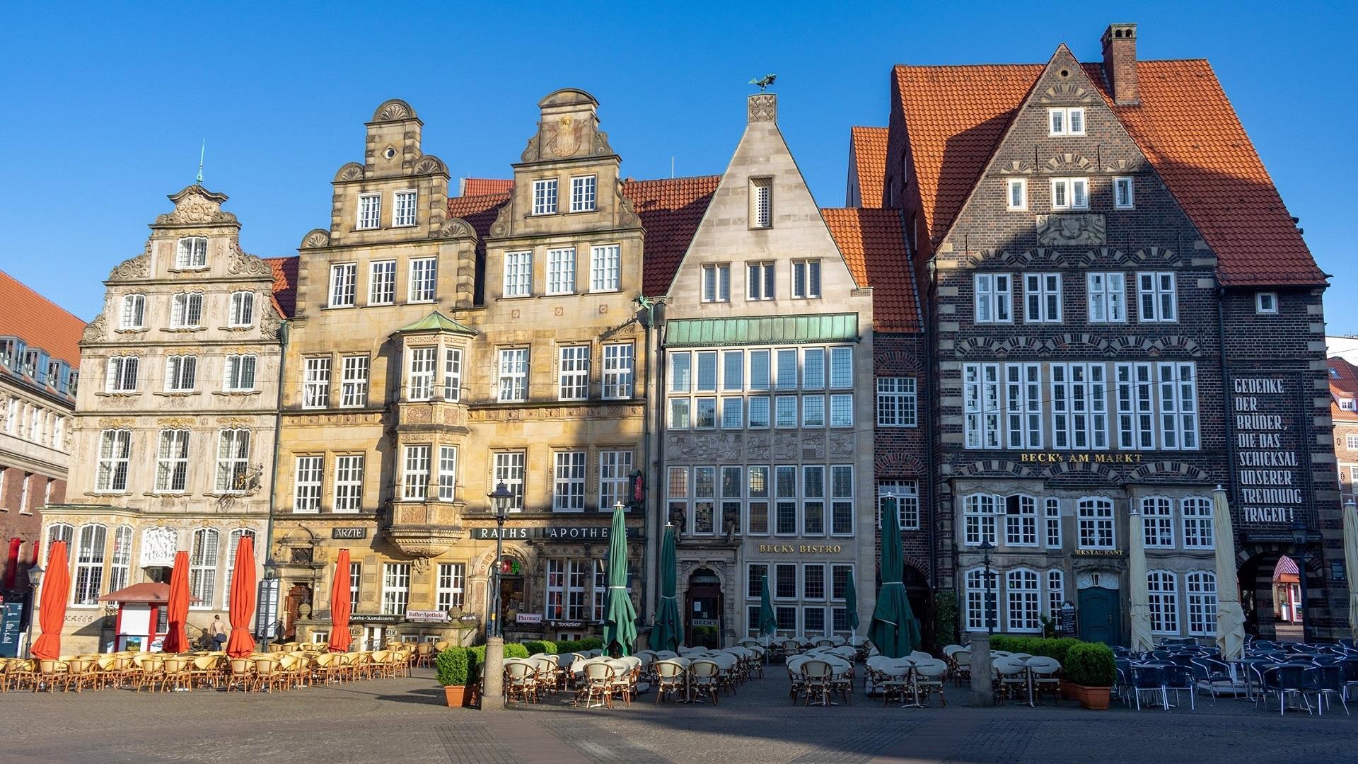 Prächtige Kaufmannshäuser in der Altstadt von Bremen