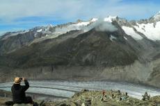 Eggishorn Blick auf Aletschgletscher